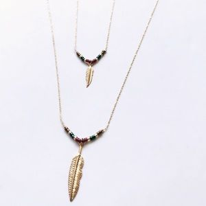 Long feather beads double layer necklace